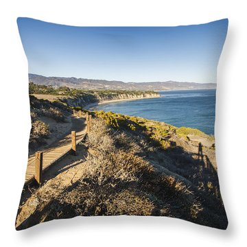 California Coastline From Point Dume Throw Pillow by Adam Romanowicz