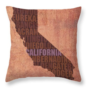 California Word Art State Map On Canvas Throw Pillow by Design Turnpike