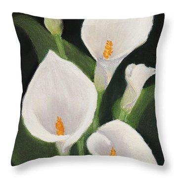 Calla Lilies Throw Pillow by Anastasiya Malakhova