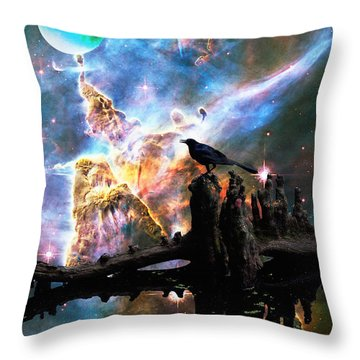 Calling The Night - Crow Art By Sharon Cummings Throw Pillow by Sharon Cummings
