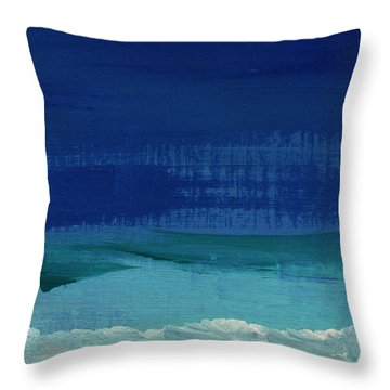 Calm Waters- Abstract Landscape Painting Throw Pillow by Linda Woods