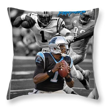 Cam Newton Panthers Throw Pillow by Joe Hamilton