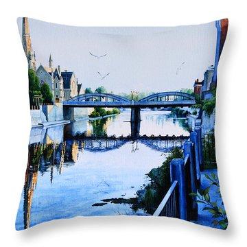 Cambridge Summer Morning Throw Pillow by Hanne Lore Koehler