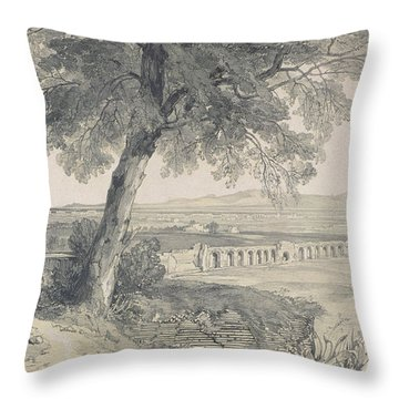 Campagna Of Rome From Villa Mattei Throw Pillow by Edward Lear