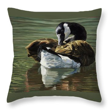 Canadian Goose Throw Pillow by Lucie Bilodeau