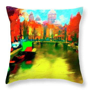Canals Of Amsterdam Throw Pillow by Ted Azriel