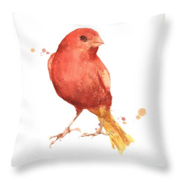 Canary Bird Throw Pillow by Alison Fennell