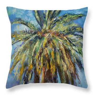 Canary Island Date Palm Throw Pillow by Michael Creese