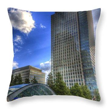 Canary Wharf Station London Throw Pillow by David Pyatt