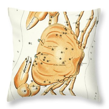 Cancer Constellation - 1825 Throw Pillow by Daniel Hagerman