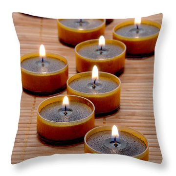 Candles Throw Pillow by Olivier Le Queinec