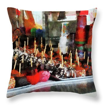 Candy Apples Throw Pillow by Susan Savad