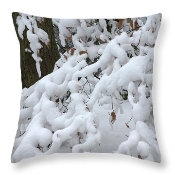 Candy Floss Snow Throw Pillow by David Birchall