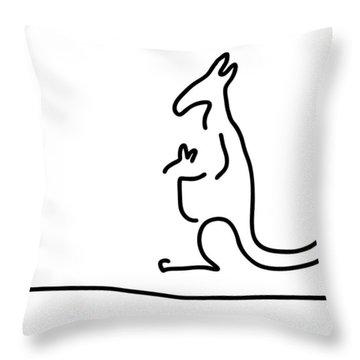 Cangarooh Kaenguru Bag Baby Throw Pillow by Lineamentum