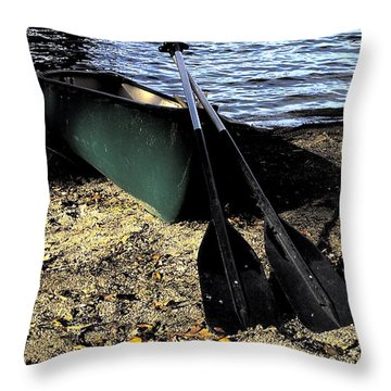 Canoe Throw Pillow by Cheryl Young