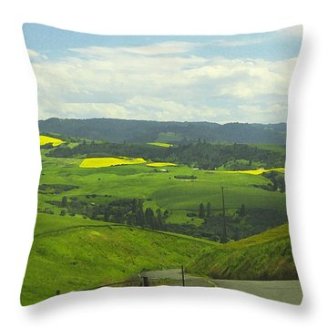 Canola Country Road Throw Pillow by Anne Mott