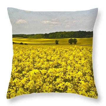 Canola Field Throw Pillow by Heiko Koehrer-Wagner