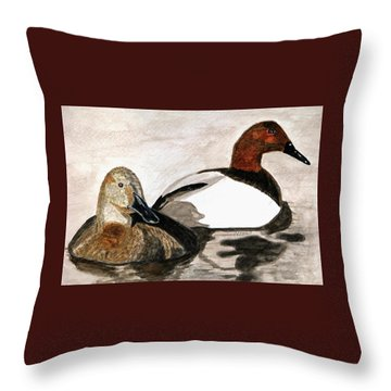 Canvasback Couple Throw Pillow by Angela Davies
