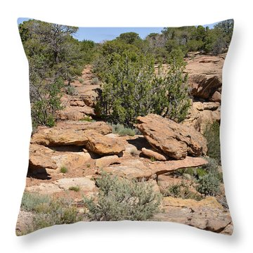 Canyon De Chelly - A Blend Of Cultures Throw Pillow by Christine Till
