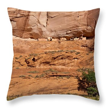 Canyon Dechelly Whitehouse Ruins Throw Pillow by Bob and Nadine Johnston