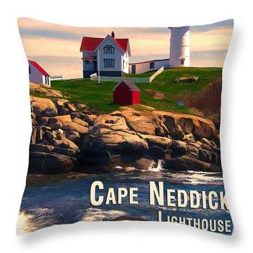 Cape Neddick Lighthouse  At Sunset  Throw Pillow by Elaine Plesser