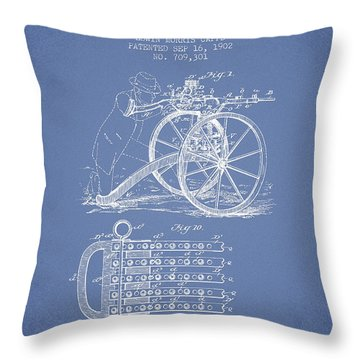 Capps Machine Gun Patent Drawing From 1902 - Light Blue Throw Pillow by Aged Pixel