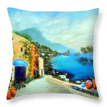 Capri Fantasies Throw Pillow by Larry Cirigliano