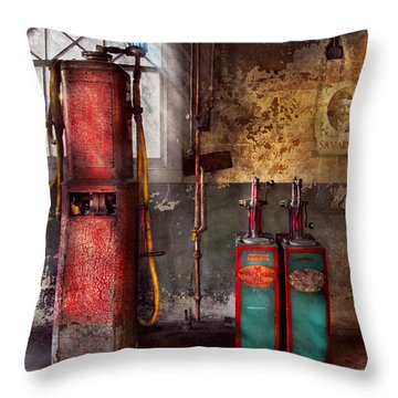 Car - Station - Gas Pumps Throw Pillow by Mike Savad