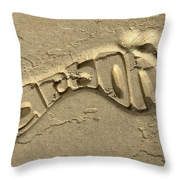 Carbon Footprint In The Sand Throw Pillow by Allan Swart