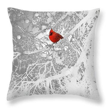 Cardinal In Winter Throw Pillow by Ellen Henneke