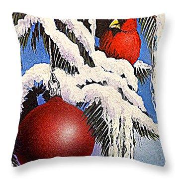 Cardinal One Ball Throw Pillow by Darren Robinson