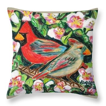 Cardinals In An Apple Tree Throw Pillow by Diane Pape