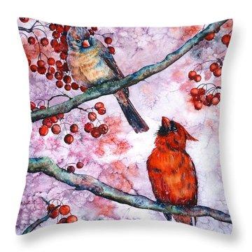 Cardinals  Throw Pillow by Zaira Dzhaubaeva