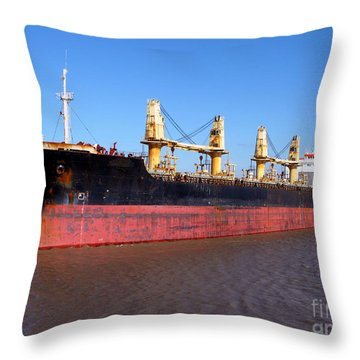 Cargo Ship Throw Pillow by Olivier Le Queinec