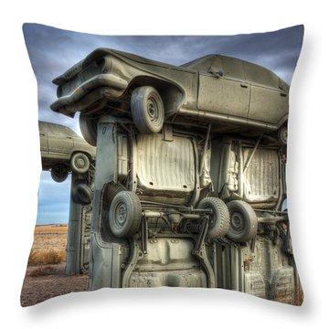 Carhenge Automobile Art 2 Throw Pillow by Bob Christopher