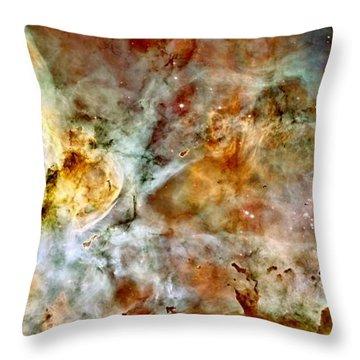 Carina Nebula Panorama Throw Pillow by Benjamin Yeager