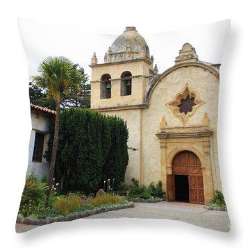 Carmel Mission Church Throw Pillow by Carol Groenen