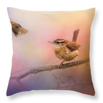 Carolina Wrens Throw Pillow by Jai Johnson