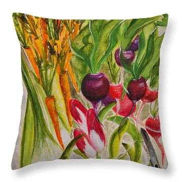 Carrots And Radishes Throw Pillow by Jamie Frier