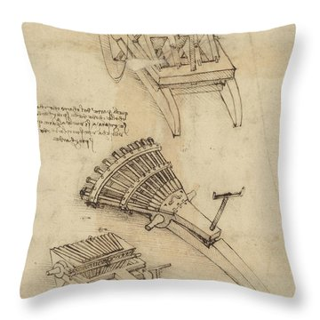 Cart And Weapons From Atlantic Codex Throw Pillow by Leonardo Da Vinci