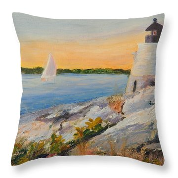 Castle Hill Light House Newport Ri Throw Pillow by Patty Kay Hall