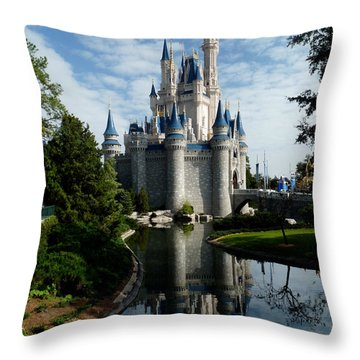 Castle Reflections Throw Pillow by Nora Martinez
