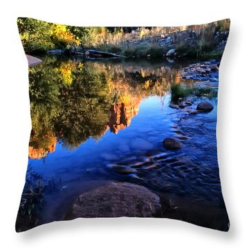 Castle Rock Reflection Throw Pillow by Barbara D Richards
