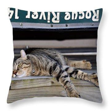 Cat And A Canoe Throw Pillow by Susan Leggett