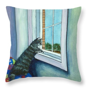 Cat By The Window Throw Pillow by Anastasiya Malakhova