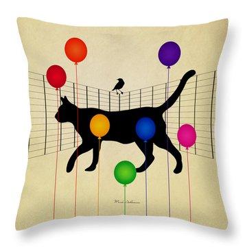 cat Throw Pillow by Mark Ashkenazi