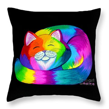 Cat Napping 2 Throw Pillow by Nick Gustafson
