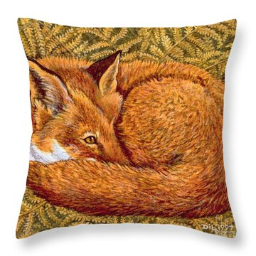 Cat Napping Throw Pillow by Ditz