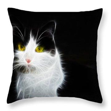 Cat Portrait Fractal Artwork Throw Pillow by Matthias Hauser