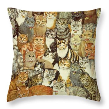 Cat Spread Throw Pillow by Ditz